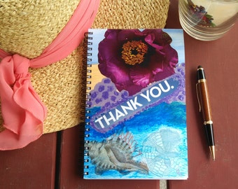 Hand Painted Spiral Journal; FREE SHIPPING; Collage Art on Wire Bound Blank Notebook; Writing Journal, Small Sketchbook; Thank You
