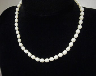 Classic, White Freshwater Pearl Necklace, 18 inches.