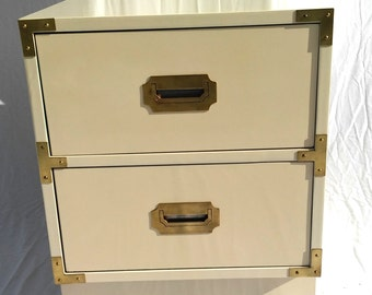 Lacquered Vintage Bernhardt Campaign Nightstand/Side Table