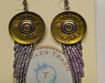 12ga Bullet w/ Angel Wings Earrings
