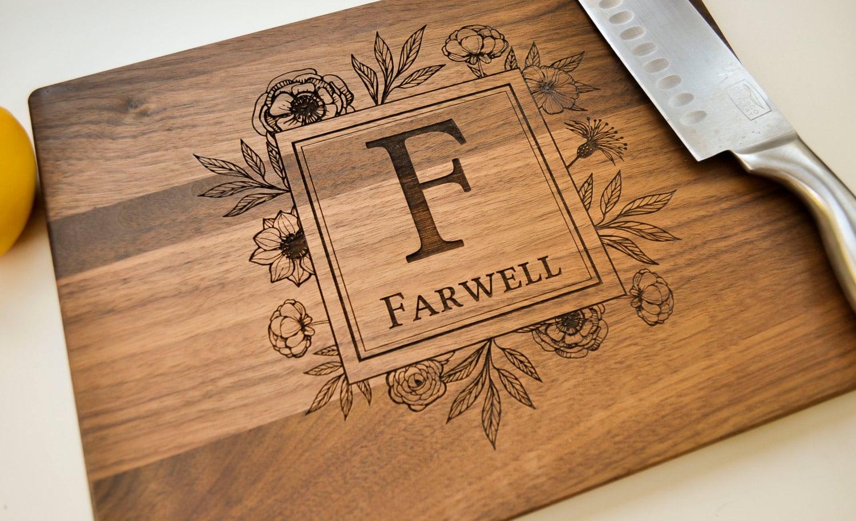 Personalized Cutting Board Engraved Walnut Cutting Board