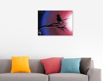 Glowing Night original acrylic painting of bird at sunset