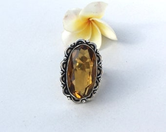 Vintage Citrine Ring -Size 7 Ring - Sterling Silver Ring - Citrine  Ring - Women Jewelry gift