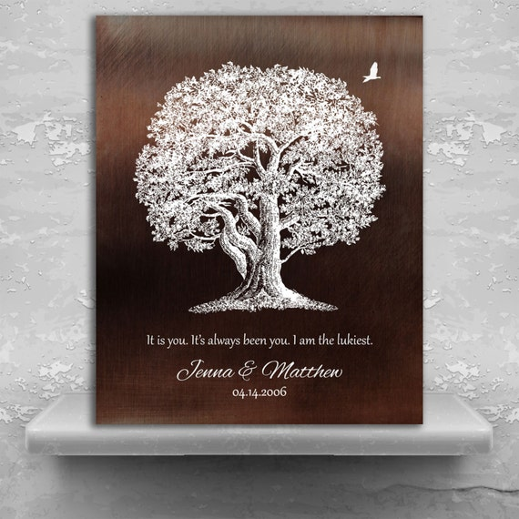 10 Year Anniversary Gift Aluminum Tin Faux Bronze Oak Tree