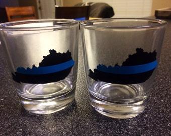 Kentucky Thin Blue Line Bourbon Glass Set