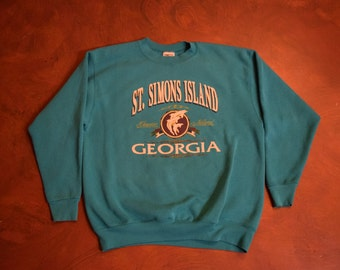 Vintage St. Simons Island Georgia Crewneck Sweatshirt - Size XL
