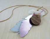 Leather feather necklace.Long feather necklace.Feather statement necklace in pink and silver.Mixed media necklace on leather cord.Gift.