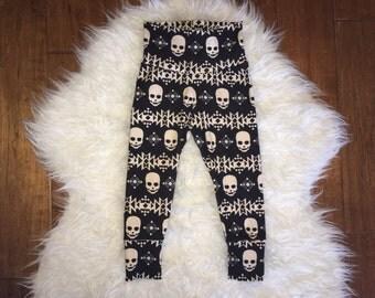 SKULL BABY LEGGINGS; halloween leggings, skull pants, skull print baby leggings