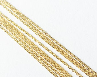 1 yard Ultra thin jewelry chain, 14K gold plated brass