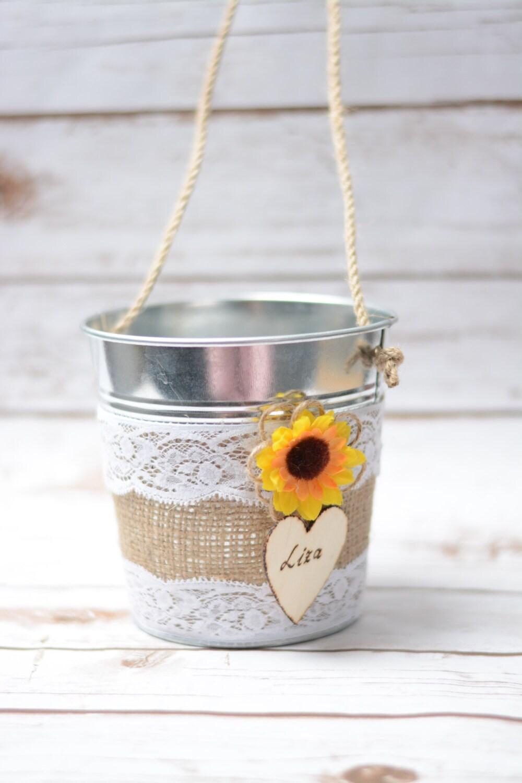 Rustic Flower Girl Bakset Sunflower Personalized Rustic Wedding ...