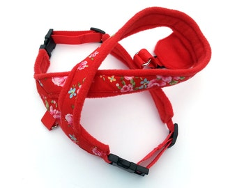 Pretty red floral dog harness