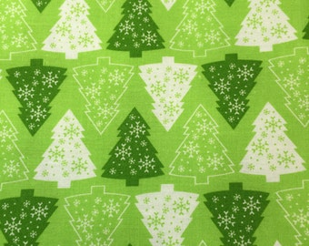 Holiday fabric shades of green and white fabric with Christmas tree print