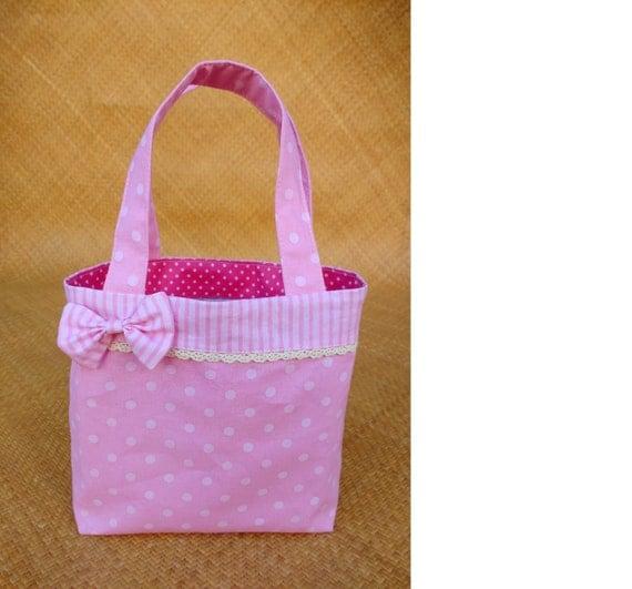 Mini tote bag / kids bag / girls handbag with interior zipped pocket - pink with white dots