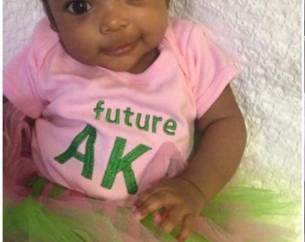 Future AKA Sorority Outfit/BodySuit and Tulle Skirt. Baby College Sorority Outfit. AKA Baby Girl. Pink and Green Baby Girl. AKA Baby Shirt