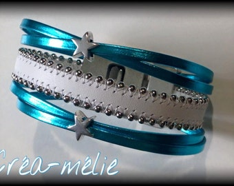 small cuff white/blue