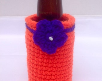 Crocheted Can Cozy, Bottle Cozy, Handmade Can Cozy, Orange Can Cozy, Clemson Can Cozy
