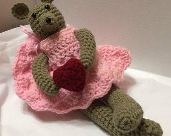 Crocheted Ballerina Mouse, Amigurumi Ballerina Mouse, Mouse Valentine, Amigurumi Mouse, Red Heart