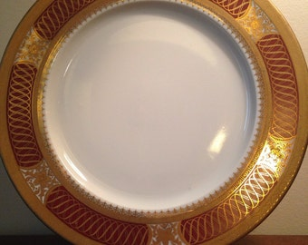 China Dinner Plate - Gold & Red Maroon / Vintage Egyptian Dinnerware