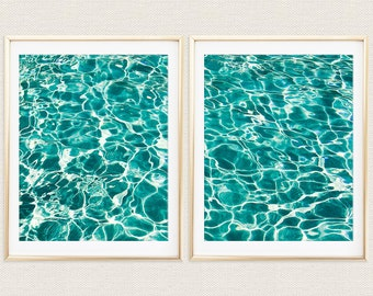 Turquoise Water Diptych, Waves, Ocean, Sea, Teal, Aqua, Diptych, 2 Panel Art, 8x10, Beach, Surf, Print Set