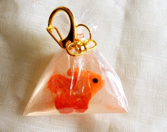 Gold fish in a bag key chain gold fish key charm