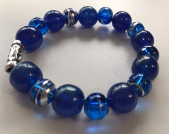 Reduced: Blue Skies glass beaded bracelet