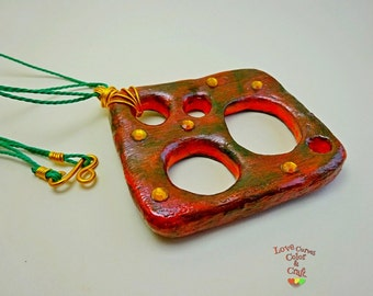 "Necklace ""Holes"" in paper Mache Choker Paper Clay Accesories Collar Papier Mache Gift"