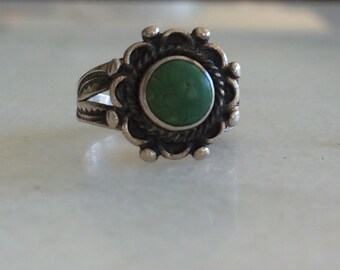 Fred Harvey Era Vintage Green Turquoise Ring Size 5