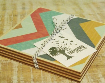 Arrows and Confetti wooden coaster set