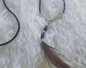 Necklace - Wrap, Black Suede Cord with Silver-Plated Feather Pendant, Native American, Tribal, Gypsy, Bohemian, Boho