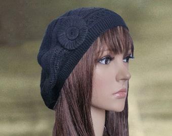 Black womens beret, Knit beret women, Lightweight beret, Light weight beret, Spring summer beret, Women's lace beret, Bohemian beret