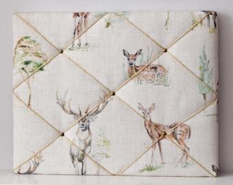 Fabric covered notice memo message pin bulletin board Clarke and Clarke Deer FREE SHIPPING
