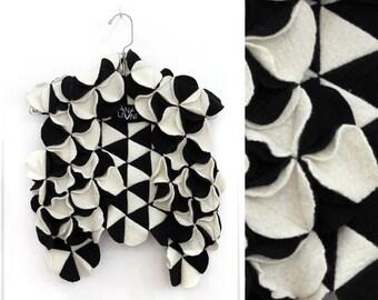 Black and white Merino Wool Vest, Felted Wool Vest, Gray wool vest, Textured Waistcoat, Luxury Knit, Designer knit, Felt Wear, felt vest