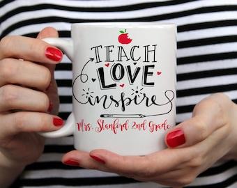 Teach Love Inspire Mug Personalized Teacher Mug Teacher Coffee Mug New Teacher Gift Teacher Appreciation Day School Mug Teacher Gift