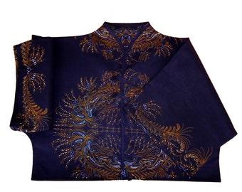 Ethnic short kimono shirt blue and ochre Amah