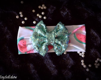 Watermelon sequin bow