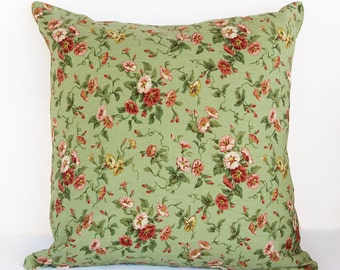 Green  Pillow Cover with Red and Pink Floral Print, Shabby Chic Floral Pillow Cover with  Soft Green Background