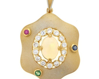 18K Gold Plated Sterling Silver Painter's Palette Pendant with Opal, CZ, Ruby, Sapphire and Emerald