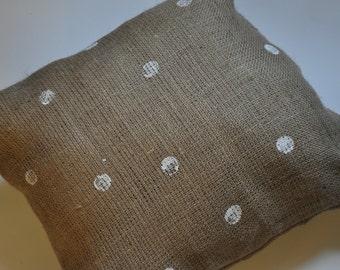 Burlap Polka Dot pillow