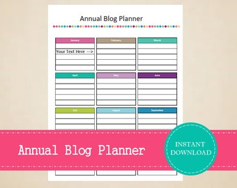 Annual Blog Post Planner - Blog Management Kit - Printable and Editable - INSTANT PDF DOWNLOAD