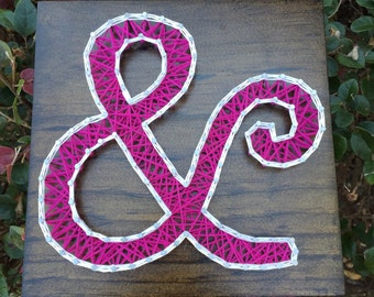 MADE TO ORDER - Ampersand (And Sign) String Art Wooden Board, Color of Choice!