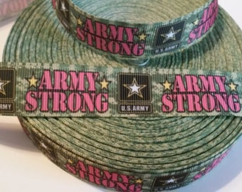 "1 Yard of 7/8"" Army Strong grosgrain ribbon"