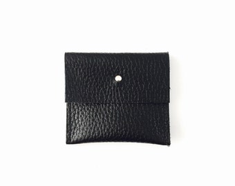 Simple leather pouch wallet, minimal leather purse