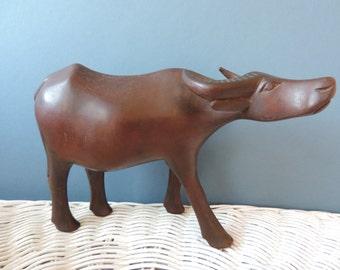 Hand Carved Solid Wood Water Buffalo/Steer Vintage