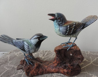 Hand Painted and Carved Chickadees Heritage Industries Vintage