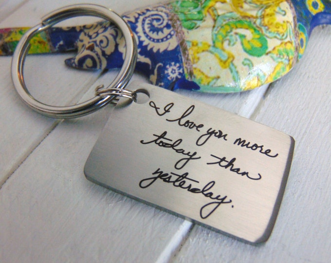 Handwritten Key Chain -Your Handwritten Image, or Custom Font Text Option_Laser Engraved_ Stainless Steel Rectangle Keychain<NEW!