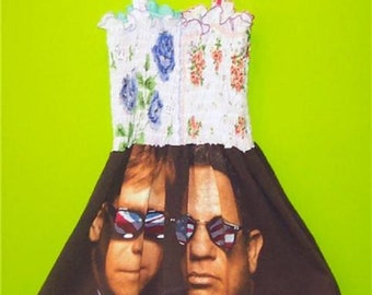 Elton John / Billy Joel Tour Tee Shirt Dress Size 8 Youth New With Tags Claude Girls Dress One Of A Kind Rare Concert Custom Embellished