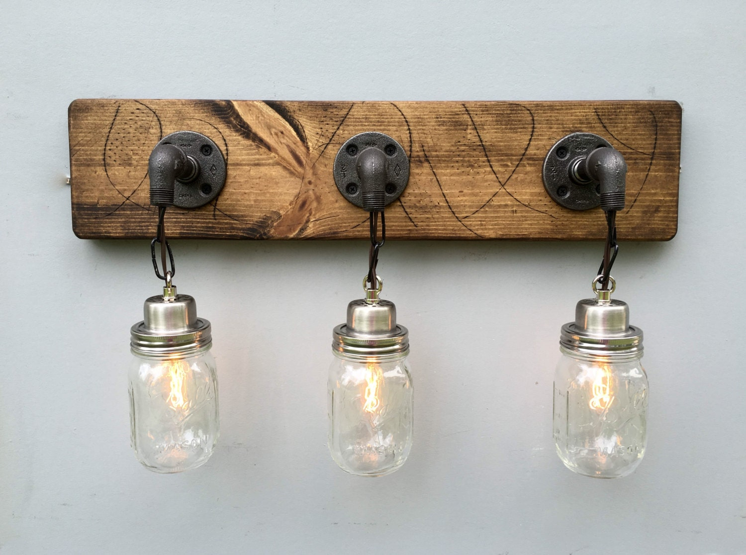 Vanity Light Fixture 3 Country-Style Mason Jar Light by Lightrooom
