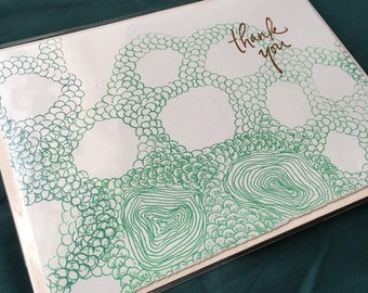 Organic Thank You Cards Hand Printed Abstract Design