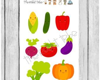 Mini Sticker sheet - kawaii vegetables, happy veges stickers - planner stickers