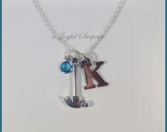 Handyman Necklace, TradesmanNecklace,  Ax Pliers Saw Hammer Necklace,Construction Necklace  with initial &  birthstone choice -   - K1164 E6